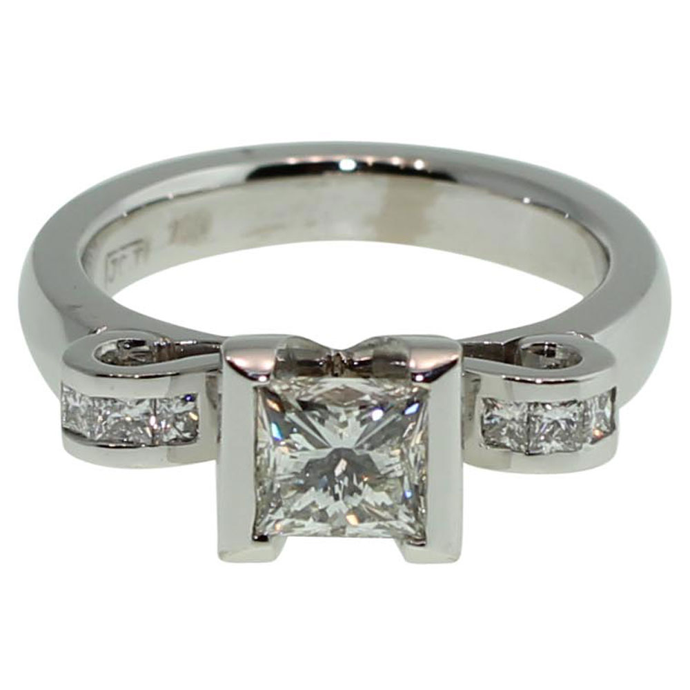 18CT WHITE GOLD HANDMADE PRINCESS CUT 1.36CT DIAMOND ENGAGEMENT RING