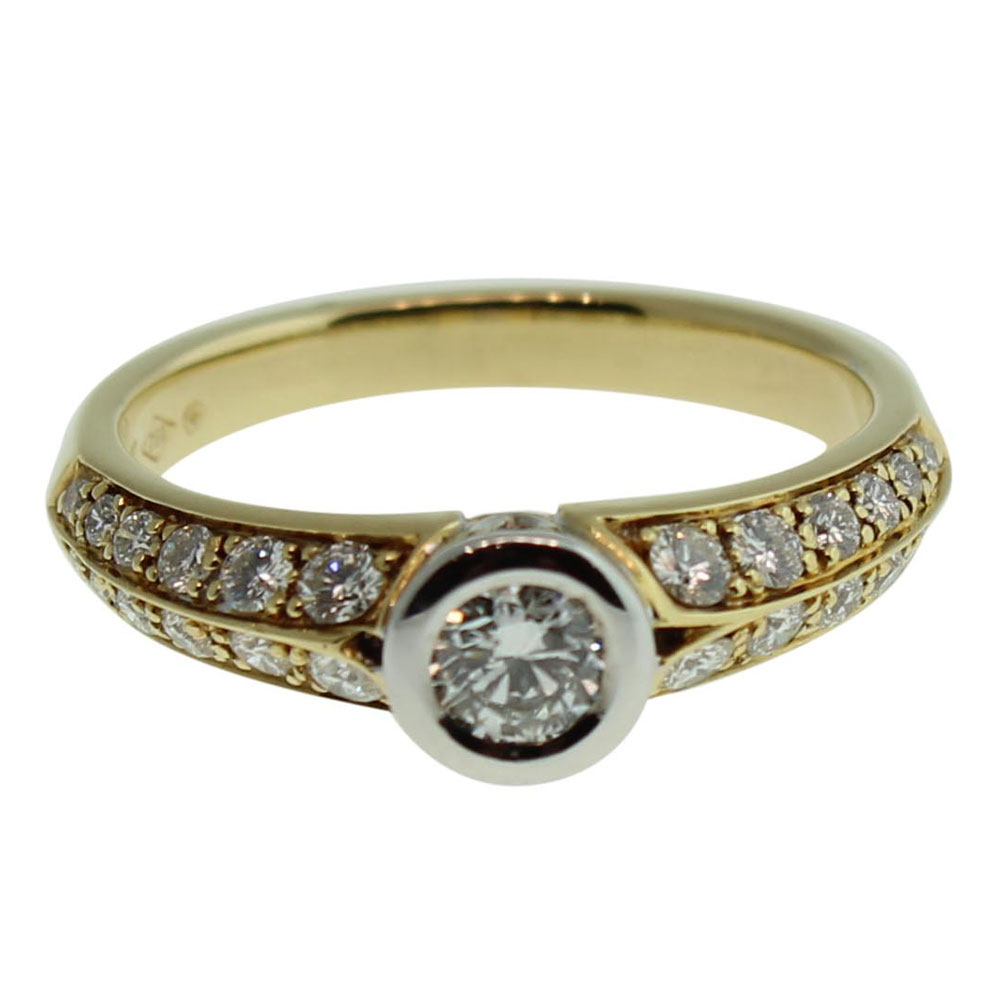 18CT YELLOW GOLD, HANDMADE ROUND BRILLIANT 0.25CT DIAMOND ENGAGEMENT RING