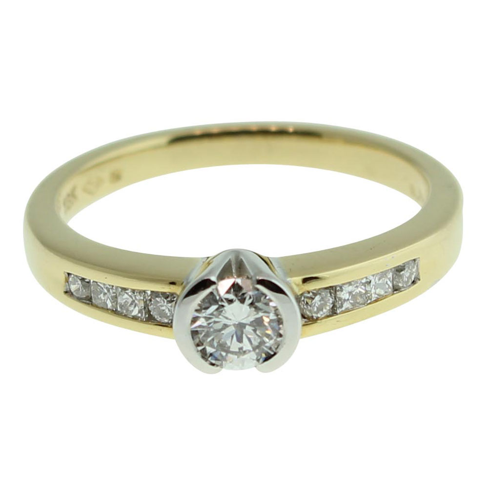 18CT YELLOW GOLD, HANDMADE ROUND BRILLIANT 0.30CT DIAMOND ENGAGEMENT RING