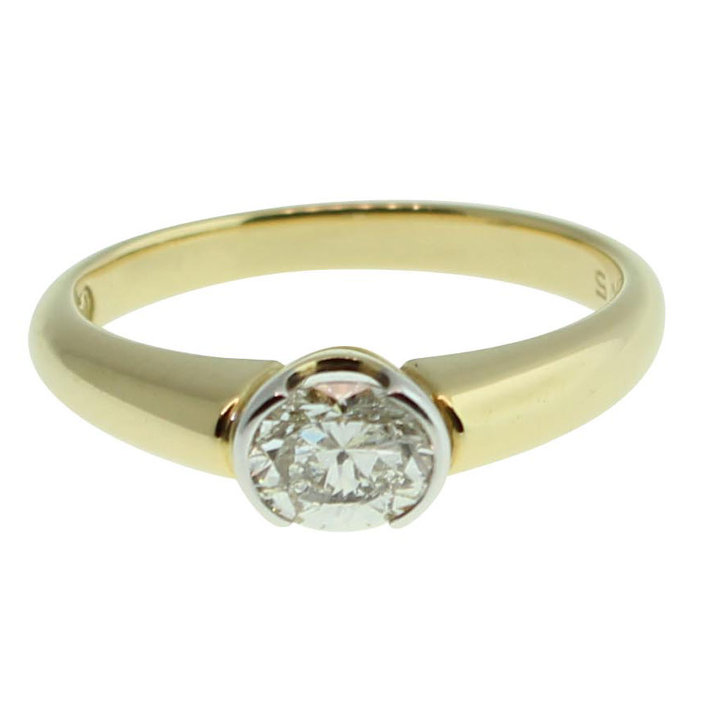 18CT YELLOW GOLD ROUND BRILLIANT 0.60CT DIAMOND ENGAGEMENT RING