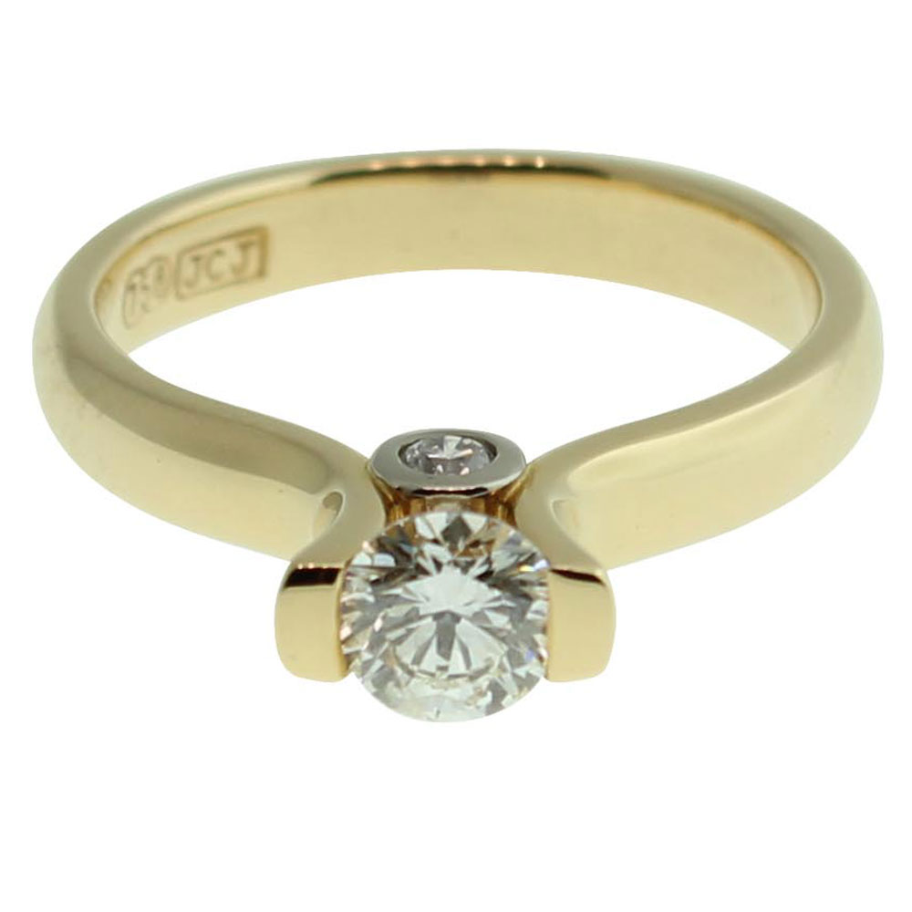 18CT YELLOW GOLD, HANDMADE ROUND BRILLIANT 0.50CT DIAMOND ENGAGEMENT RING