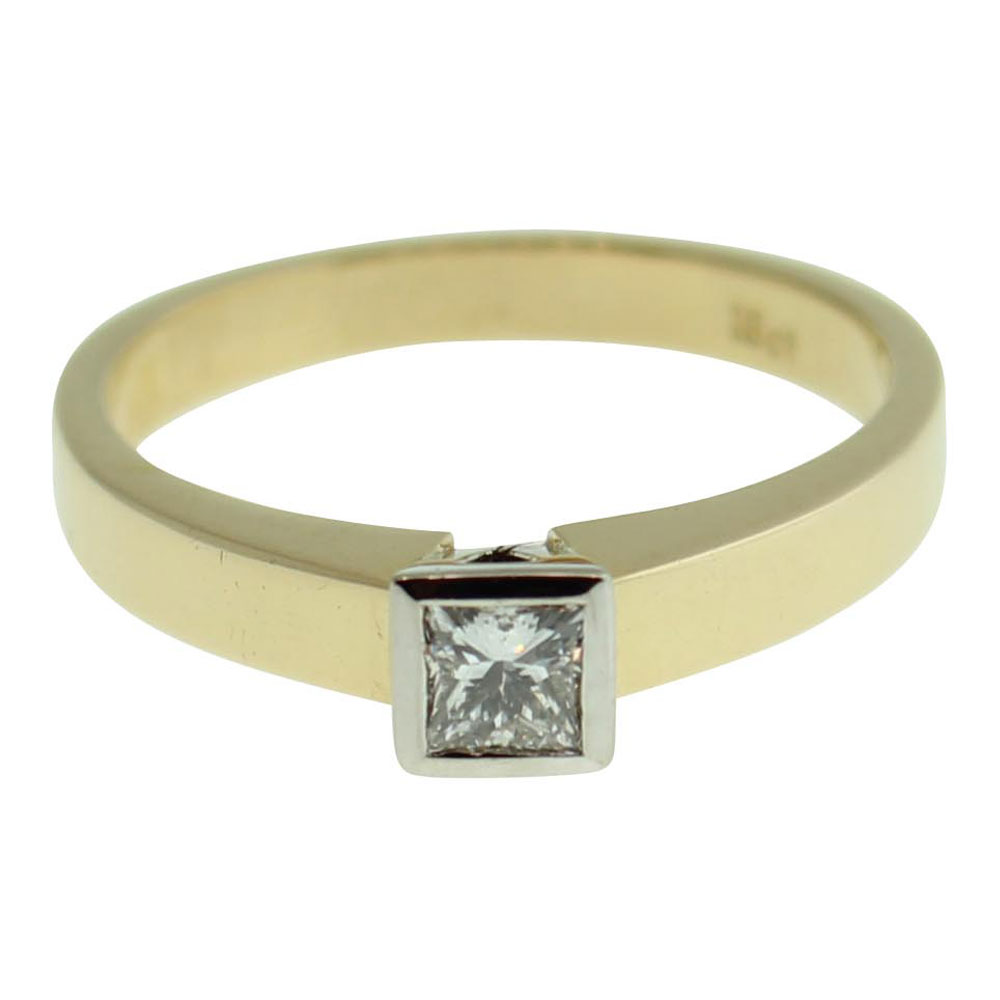 18CT YELLOW GOLD, HANDMADE PRINCESS CUT 0.30CT DIAMOND ENGAGEMENT RING