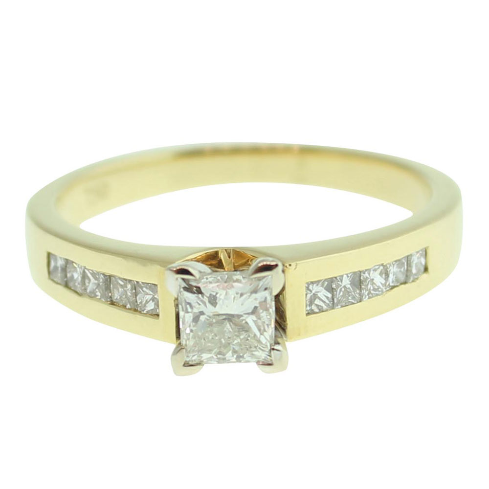 18CT YELLOW GOLD PRINCESS CUT 0.52CT DIAMOND ENGAGEMENT RING