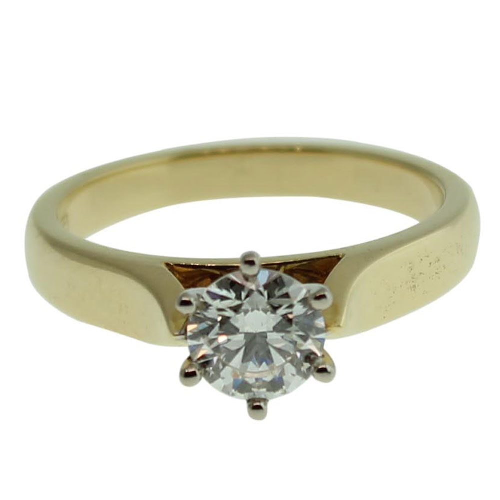 18CT YELLOW GOLD ROUND BRILLIANT 0.71CT DIAMOND ENGAGEMENT RING