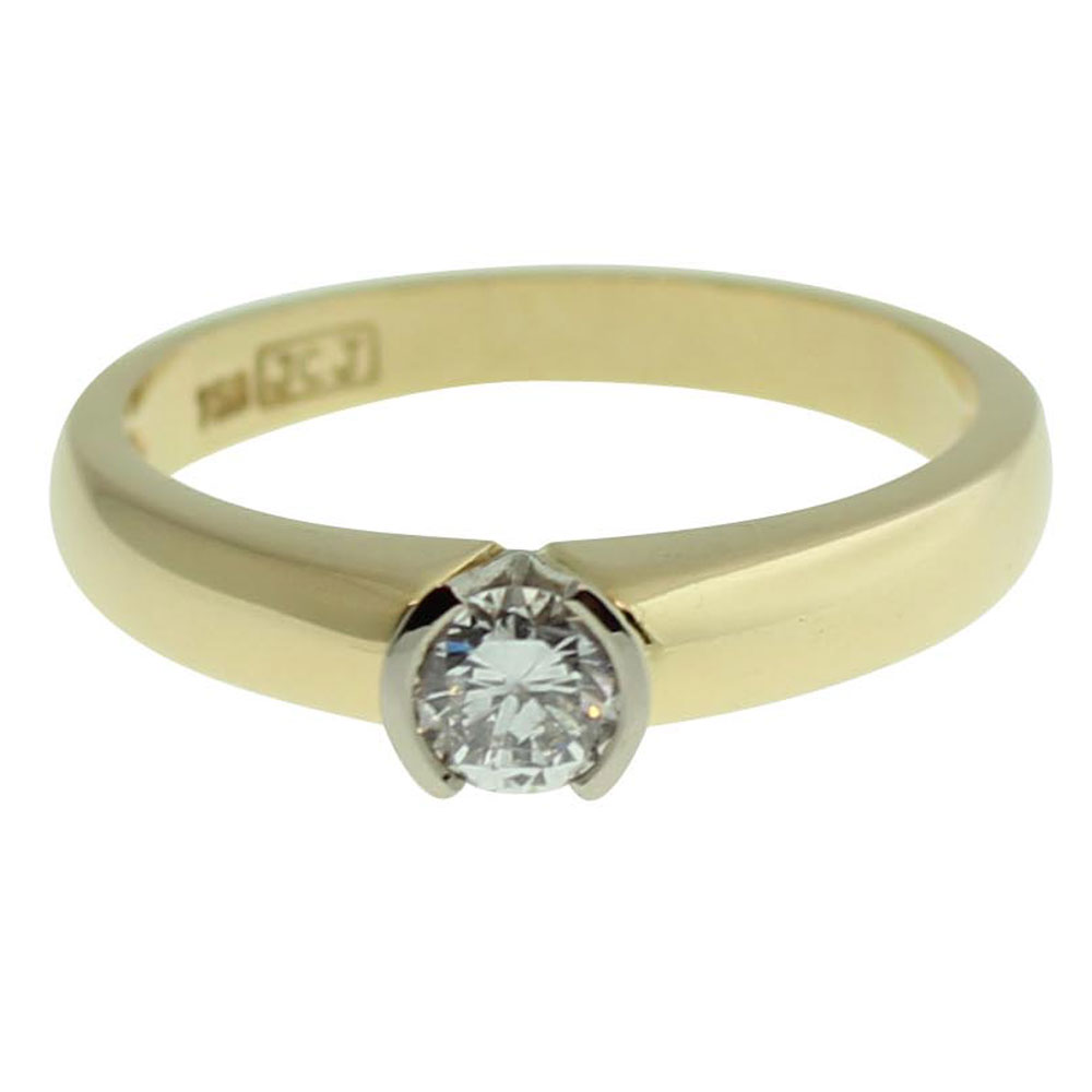 18CT YELLOW GOLD ROUND BRILLIANT CUT 0.30CT DIAMOND ENGAGEMENT RING