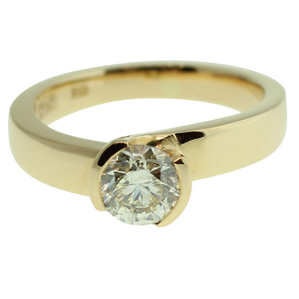 18CT YELLOW GOLD HANDMADE ROUND BRILLIANT CUT 0.90CT DIAMOND ENGAGEMENT RING