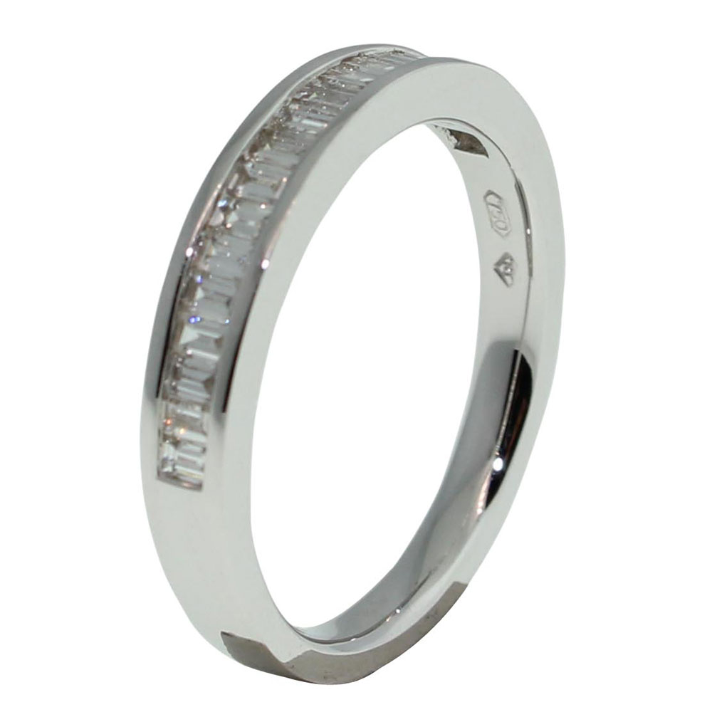 18CT WHITE GOLD, BAGUETTE CUT 0.50CT DIAMOND RING