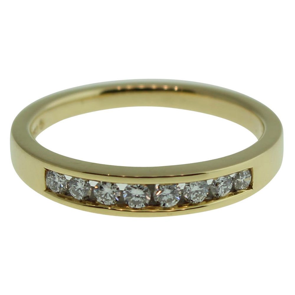 18CT YELLOW GOLD CHANNEL SET 0.25CT DIAMOND RING