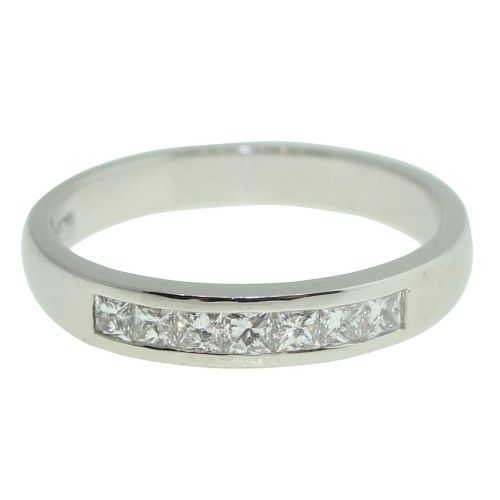 18CT WHITE GOLD HANDMADE PRINCESS CUT CHANNEL SET 0.43CT DIAMOND RING
