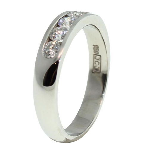 18CT WHITE GOLD HANDMADE ROUND BRILLIANT CUT CHANNEL SET 0.50CT DIAMOND RING